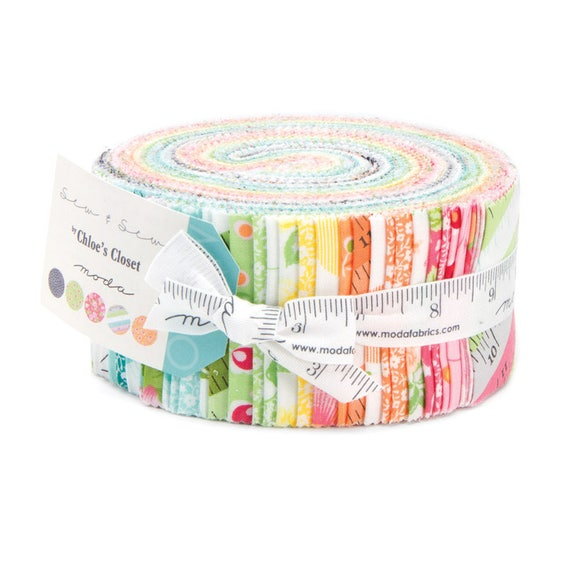 Sew & Sew Jelly Roll of 40 Fabrics by Designer Chloe's Closet  Moda 33180JR, Vintage Quilt Prints of Measuring Tapes, Feedsack Florals