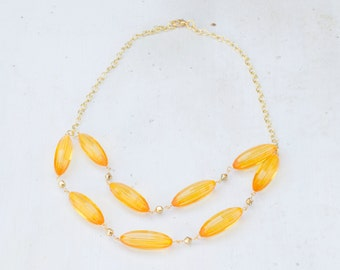 Gold Necklace with Large Acrylic Amber Beads