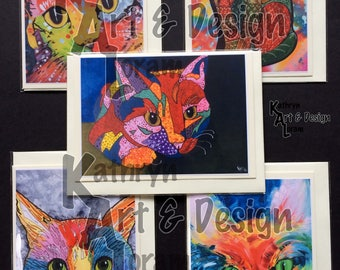 Cat greetings cards from my art work, quirky designs, Blank inside, Set of 5 different designs,