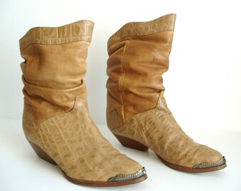 Vintage Faux Croc Skin & Leather Slouchy Cowboy Boots / Cowgirl Boots, Ankle Boots, US 6