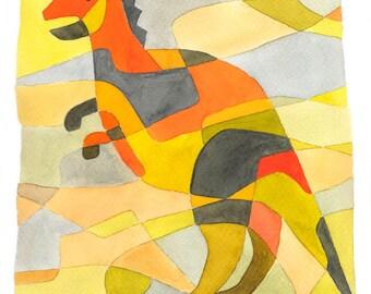 BIG Nursery Art Print 'Dinosaur 1' Mid Century Modern Print Yellow Orange Red Lime green Gray 11 x 16