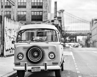 Classic Car Photography - Classic VW Bus in Williamsburg, Brooklyn, New York,  Volkswagen Bus, Vintage Car, 8x12 Black & White photograph