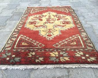 Turkish rug oushak rug vintage rug small rug old rug 2.8ft_1.7ft