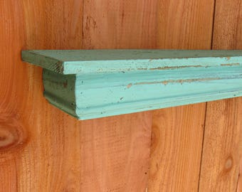 Floating blue CEDAR wall shelf, MANTLE, French Country, Shabby Chic, Distressed
