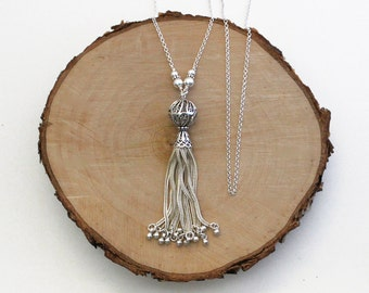 Sterling Silver Tassel Necklace on Long Chain, Turkish Silver, Turkish Filigree Tassel Pendant, Tassel Jewelry
