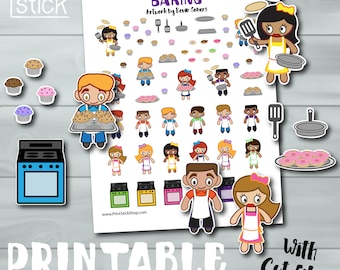 Cooking Planner Stickers - PRINTABLE - Baking in the Oven! For Erin Condren, Happy Planner and other planners! W Cut Files