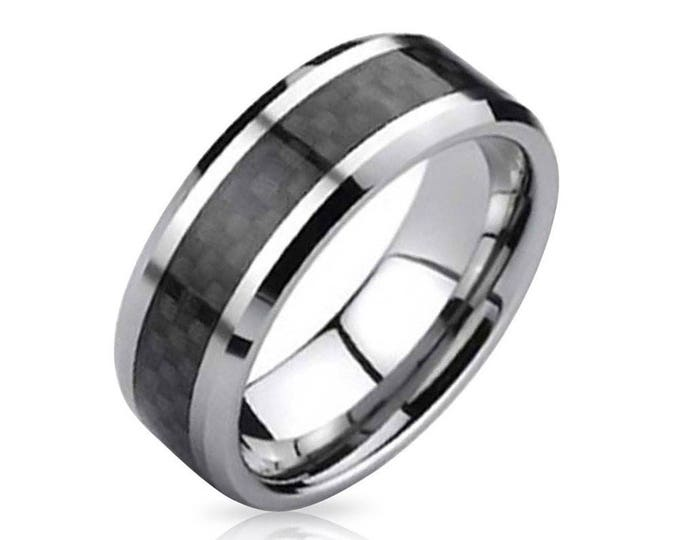 Personalised Free Engraving 8 mm  Black  Carbon Fiber Tungsten Carbide Men's /Women's Ring Band - Comfort fit