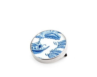 Willow anniversary gift, porcelain brooch, antique china brooch, blue pin, willow brooches