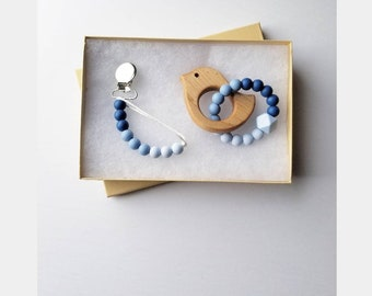 BLUE OMBRE Teether set, wooden teether, bird teether, silicone teether, pacifier clip