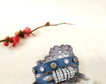 Dark  blue wrap bracelet, blue leather lace cuff, rhinestone leather bracelet, boho jewelry
