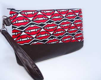 Clutch with Red lips print | Removable Wrist strap | Clutch bag | Party clutch