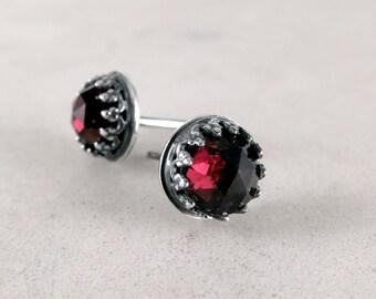 Garnet stud earrings, Sterling Silver,  red gemstones, January birthstone jewelry