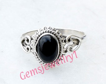 Black Stone Ring, Black Onyx Ring, Black Ring, 925 Sterling Silver, Handmade Ring, Onyx Ring, Girls Ring, Natural Black Onyx Ring,