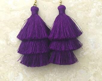 Ultra Violet Tassel Earrings, Purple Wedding Earrings, Dark Purple Earrings, Purple Earrings, Handmade Earrings, Festival Jewelry, Boho