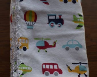 Large Planes, Trains and Automobiles Baby Blanket