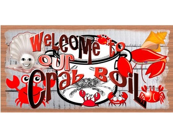 Crab Boil Wood Signs - Seafood Plaque- GS 2787