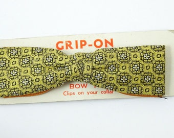 Yellow Gold Woven Vintage Clip On Bow Tie 1950s Bowtie Art Deco