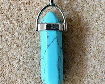 Turquoise Howlite Gemstone Pendulum Pendant with Bail Double Sided 40mm Overall Length 1 pendant