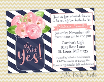 Navy and Pink Bridal Shower Invitation | Navy and Pink Wedding Shower Invitation | Mason Jar Bridal Invitation | Pink Floral Invitation