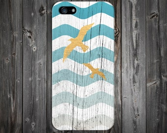 Blue Faded Waves x Golden Seagulls x White Wood Design Case for iPhone X iPhone XS 5C iPhone 4 iPhone 4S and Samsung Galaxy  & s7