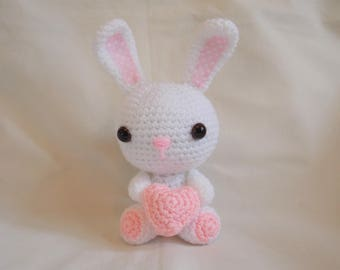 Crochet Bunny, Amigurumi Bunny, crochet bunny with heart, crochet Rabbit, mothers day gift