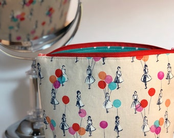 Gift Cosmetic Bag - Balloons - Girls - Teacher Gift - Graduation Gift - Bridesmaid Gift - Retro - Zippered Bag
