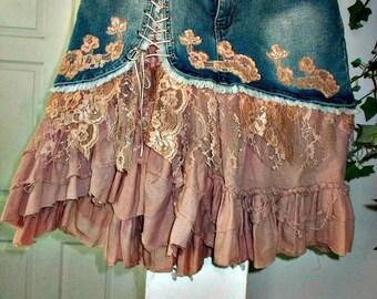 Mauve Rose jean skirt ruffled chiffon dusty rose lace French lace pink ruffles upcycled bohemian Renaissance Denim Couture