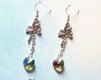 fairies and hearts swarovski earrings