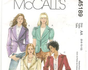 McCall's 5189 Size 6, 8, 10, 12 Women's jacket / blazer sewing pattern with long or short sleeves.  Lined jacket, pockets, blazer
