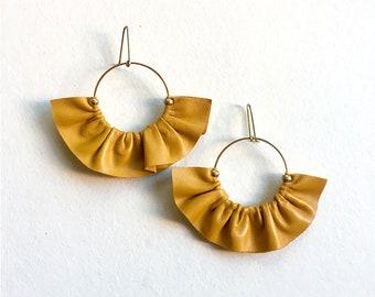 Yellow statement earrings in leather, Fan earrings, Leather fan earrings, Statement hoop earrings, Boho fan earrings