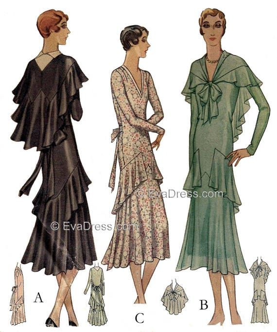 1930s Sewing Patterns- Dresses, Pants, Tops 1930 Flounced Dress & Cape Pattern by EvaDress $28.00 AT vintagedancer.com
