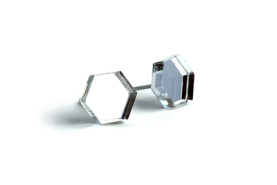Mirror hexagon studs - silver geometric earrings - graphic jewelry - lasercut acrylic mirror - hypoallergenic surgical steel posts