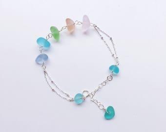 Handmade Sterling Silver Sea Glass Bracelet, Adjustable Sterling Silver Chain Bracelet, Sea Glass Jewelry, Beach Glass Jewelry