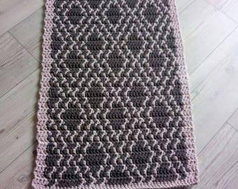 Handmade crochet rectangular rug