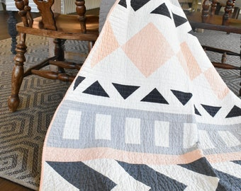 Tribal Song Quilt | throw quilt | modern quilt | couch quilt | geometric |