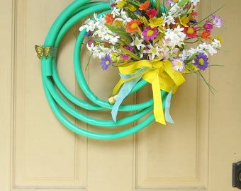 Garden Hose Wreath With Flowers for Summer