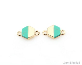 Turquoise Hexagon Connector in Gold / 8.0mm x 12.0mm / STQG099-C (2pcs)