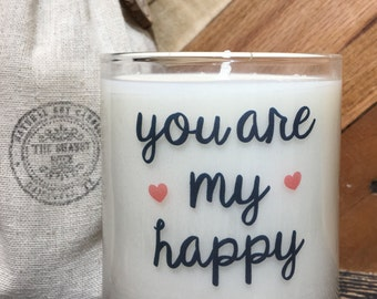You Are My Happy / Love Candle / Valentine Candle / Candle With Message / Valentine Gifts / Gifts For Valentines Day / I love you