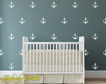Anchors Wall Decals - Set of 50 Sailor Anchors Decal Set - Anchor Pattern Decals - Nautical wall decor - Living Room Wall Decals - Baby Room
