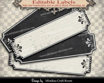Printable Blank Labels add your text digital paper craft supplies scrapbooking tags instant download collage sheet