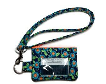 Lanyard  Wallet, Badge Wallet, Lanyard, ID Wallet, Key Ring Orange Blue Green Flowers