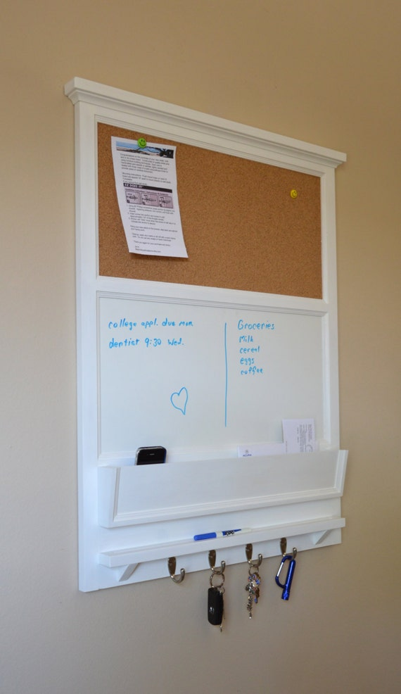 """27"""" x 35"""" tall Cork board and Dry Erase Board with Mail / Storage Organizer  - Key / Coat / Hat rack - RusTic - Home Decor"""
