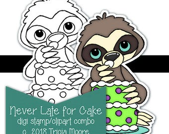 Never Late for Cake Sloth Birthday digi digital stamp clipart combo kit printable color page Instant download