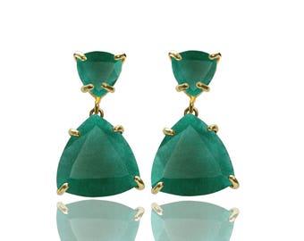 SUMMER SALE - Emerald Agate earrings,trillion earrings,triangle earrings,gold earrings,prong earrings,dangle earrings