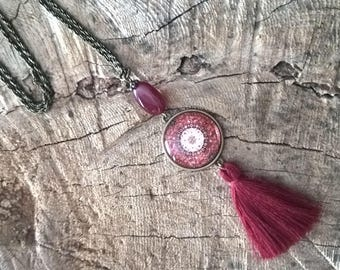 tassel bohemian necklace trend , red orient pattern style
