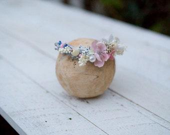 Pink and blue newborn wreath Newborn wreath with beads Newborn head wreath Baby flower crown