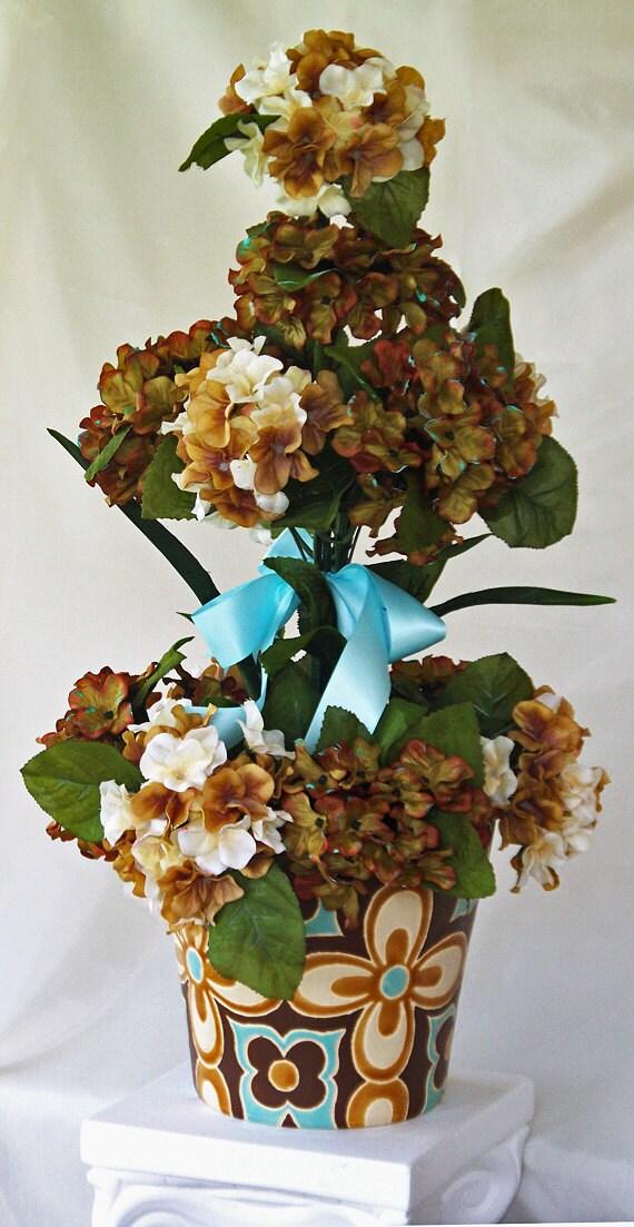 Tall silk flower arrangement brown light teal vase flower mightylinksfo