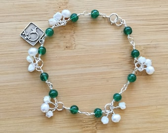 Freshwater Pearl Bracelet, Sterling Silver Wire Wrapped Bracelet, Green Aventurine and Pearl Clusters, Boho Style Jewelry, June Birthstone