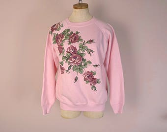 80s Novelty Sweatshirt- 1980s Vintage Soft Pink with Roses & Puff Paint- Embellished Crafty Kitschy Kawaii- pastel- punk- shabby chic