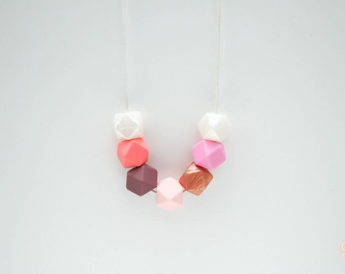 Mindy Silicone Beaded Pink, Peach and White Necklace.